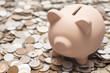硬貨の背景に豚の貯金箱
