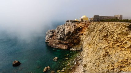 Fog above Belixe Fortress near Sagres, Time Lapse, Algarve
