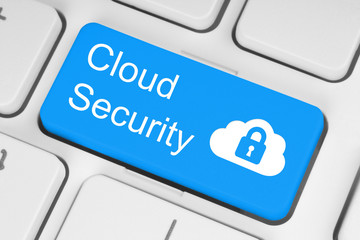 Cloud computing security concept on blue keyboard button