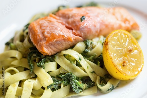Salmon with pasta and spinach