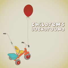 Kid's tricycle and balloon background