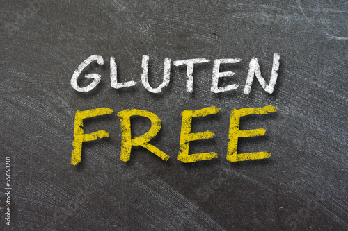 Gluten Free handwritten with white chalk on a blackboard.