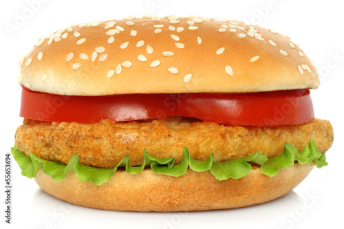 Big chicken hamburger on white backgroung.