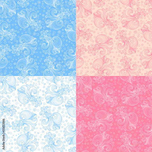 Set of seamless patterns with delicate flowers
