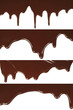 Melted chocolate dripping set on white background .
