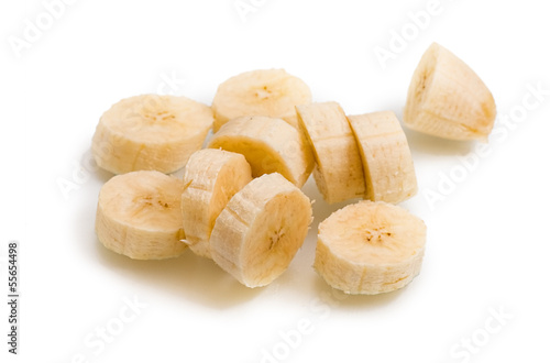 Banana fruit slice on white background