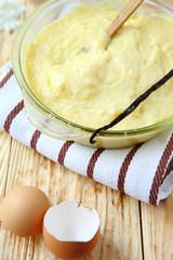 custard milk cream with vanilla in saucepan