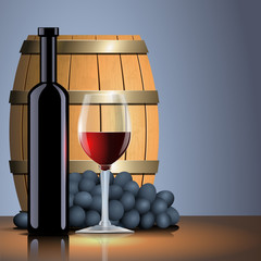 Vector red wine, bottle, glass and old barrel