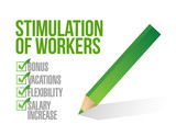 stimulation of workers. check list illustration poster