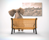 Elephant sitting looking painting