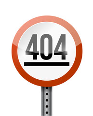 404 error road sign illustration design