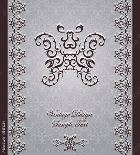 Elegant vintage card with frame and decorative elements