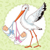 Baby greetings card with stork and twins