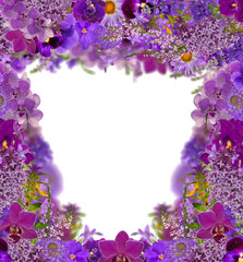 lilac color frame from flowers