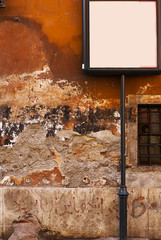 Background of old grunge vibrant stucco wall in Rome