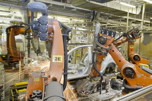 Roboter schweissen Auto Karosserie Fabrik