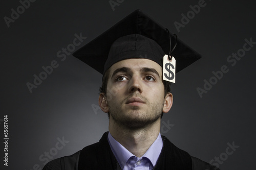 College graduate with large tuition bill, horizontal