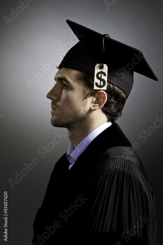 College graduate with tuition price tag, vertical