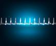 Electrocardiogram wallpaper. Beautiful blue luminous design.