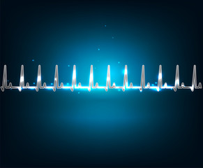 Electrocardiogram wallpaper. Beautiful blue luminous design.