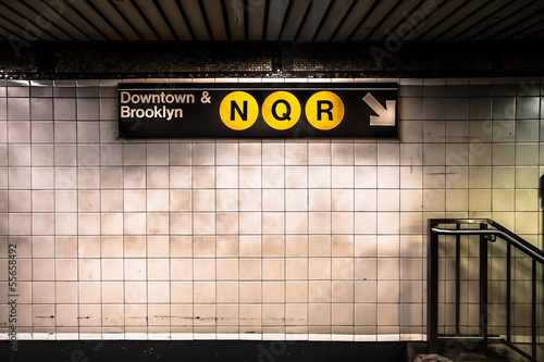 New York City subway with sign - 55658492