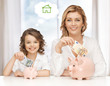 mother and daughter saving money