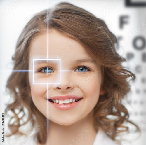 cute girl with eye chart