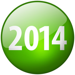 2014 Round Green Glass Shiny Button