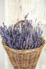 Violet dry lavender flowers in the basket