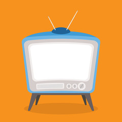 vector vintage tv blue color isolated