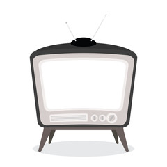vector vintage tv black color isolated