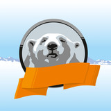 Label with the north polar bear and orange ribbon
