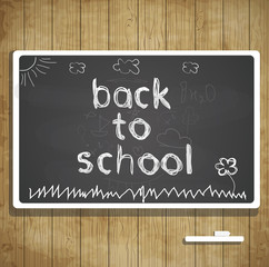 Back to school illustration with blackboard and chalk text
