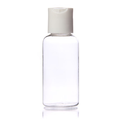 Empty Clear Bottle isolated. Cosmetic. Spa