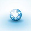 Winter glass globe with snowflake inside