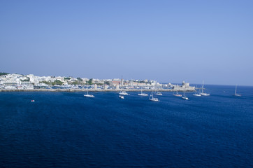general view of old town harbor at Rhodes - Greece