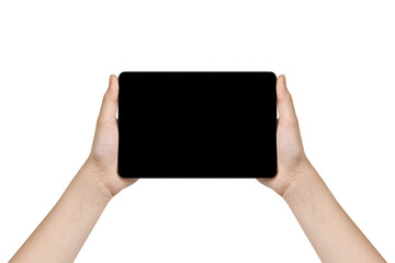 female teen hand holding generic tablet