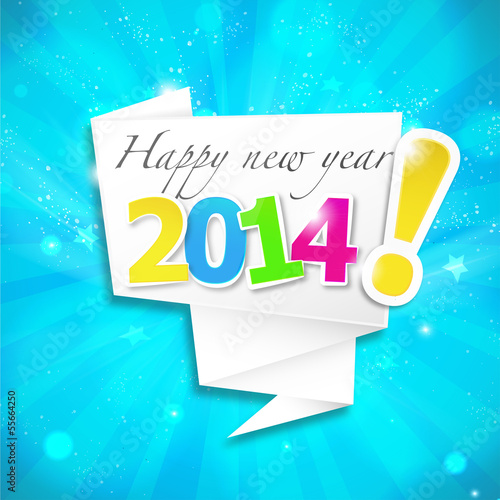 origami speech bubble : happy new year v2