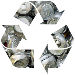 Recycle symbol with cans