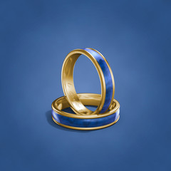 Blue wedding rings inscripted