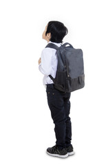 Business boy carry bag from behind - isolated