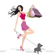 attractive woman shopping with doggie