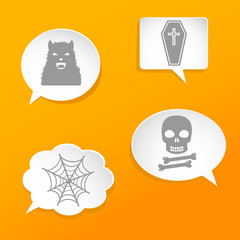 Speech bubbles with Halloween signs