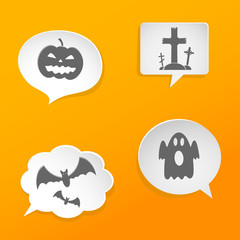 Speech bubbles with Halloween symbols