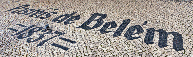 Pasteis de Belem sign inlaid in mosaics