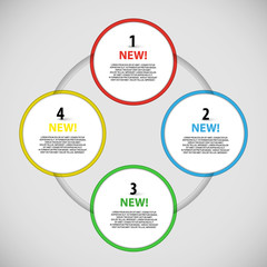 Vector colorful information buttons around schema