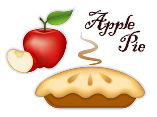 Apple Pie, ripe fruit, fresh baked sweet dessert treat, isolated