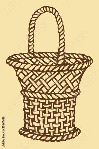 Vector. Monochrome picture wickerwork basket