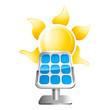solar panel and sun