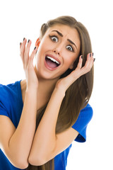 Bad news! Young woman with shocked facial expression screaming